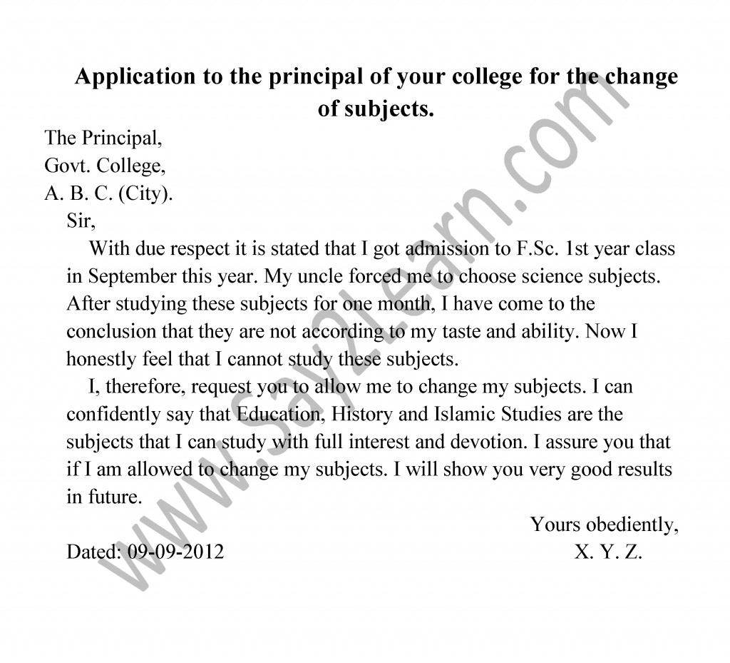 Letter of school application