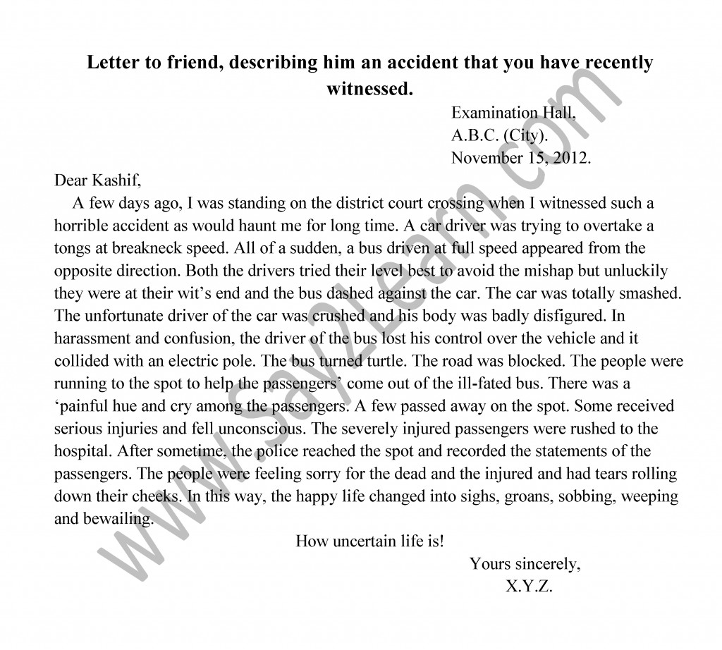 A Letter To Your Friend Describing An Accident