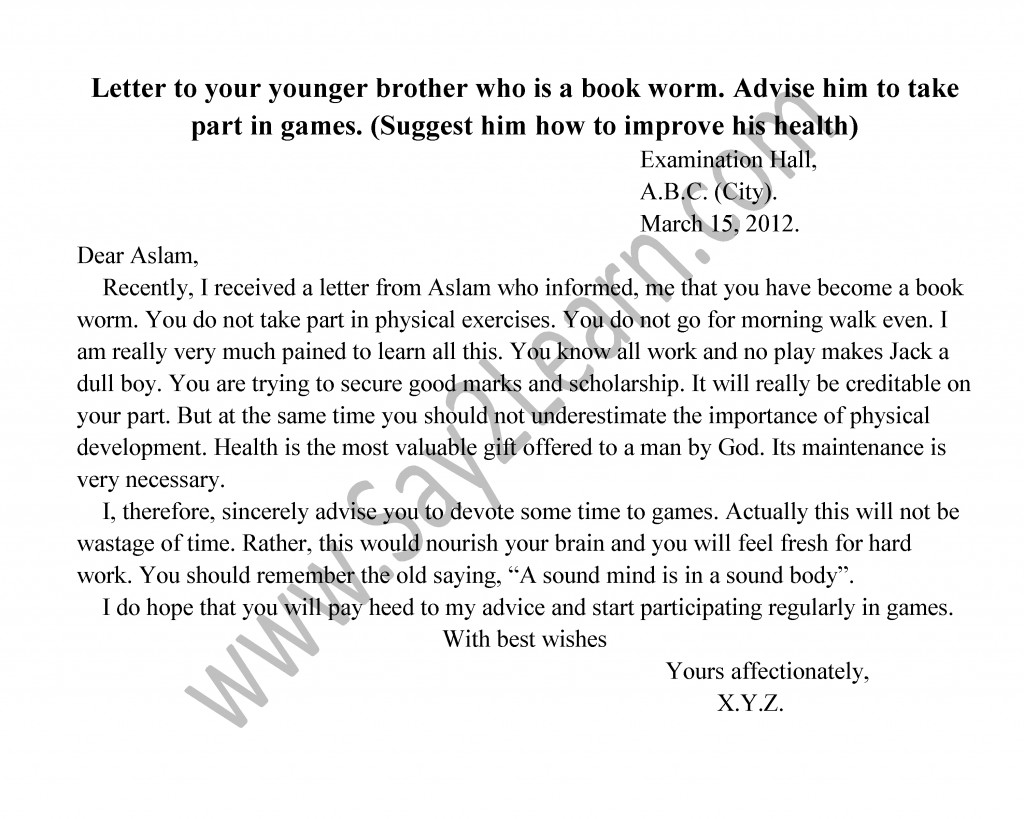 Write a letter to your younger brother