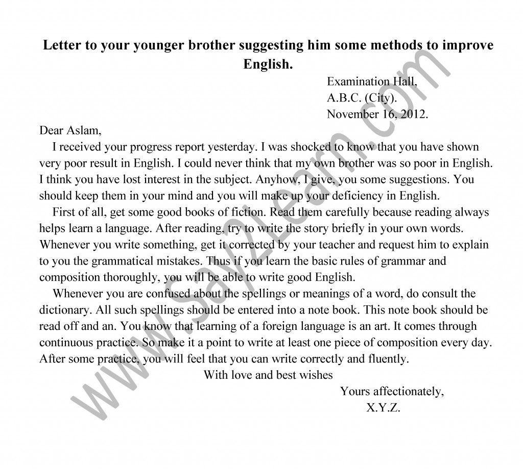 English – I Letters For Brilliant Student